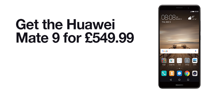 Get the Huawei Mate 9 for £549.99. £10 minimum top-op required. Find out more.