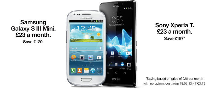 Sony Xperia T and Samsung SIII Mini